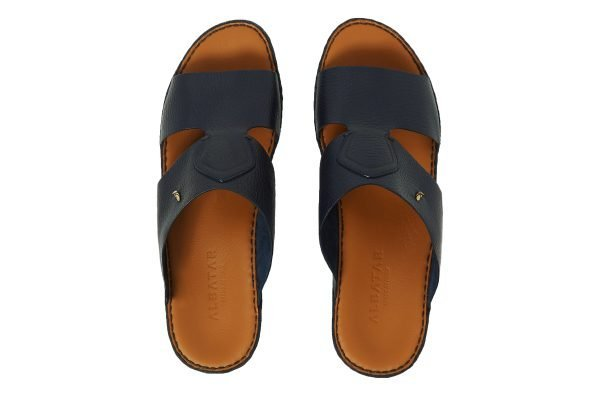 Albatar men arabian sandal rehan deer calf navy blue top