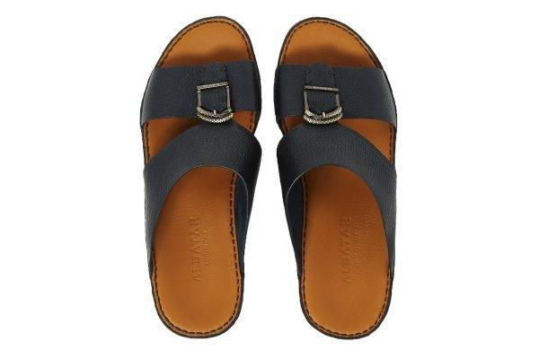 Albatar men arabian sandal saif deer calf navy blue top