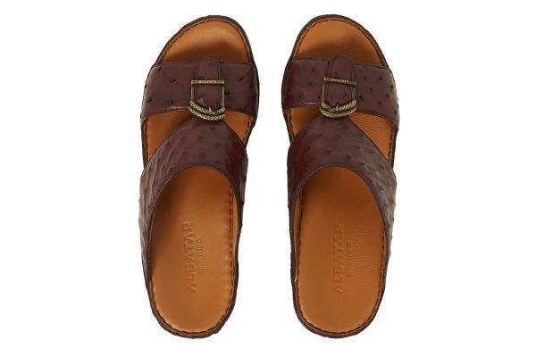 albatar men sandal saif ostrich bordeaux top